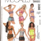 McCall's Sewing Pattern 3566 Misses Size 8-12 Bikini Halter Top Swimming Suit Bathing Suit Skirt