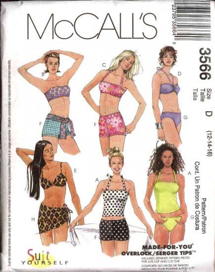 McCall's Sewing Pattern 3566 Misses Size 12-16 Bikini Halter Top Swimming Suit Bathing Suit Skirt
