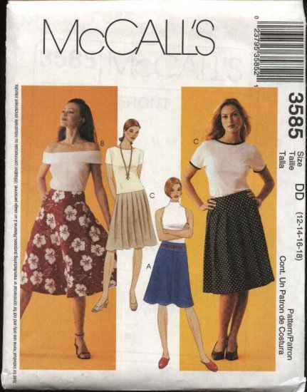 McCall's Sewing Pattern 3585 Misses Size 12-18 Yoked Pleated Flared Skirts