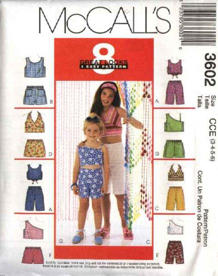 McCall's Sewing Pattern 3602 Girls Size 7-8-10 Easy Summer Pullover Halter Tops Shorts