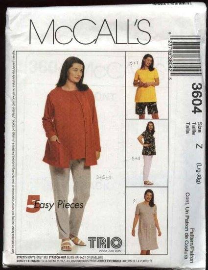 McCall's Sewing Pattern 3604 Misses Size 16-22 Easy Maternity Knit Wardrobe Dress Top Cardigan