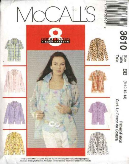 McCall's Sewing Pattern 3610 Misses Size 8-14 Easy Button Front Shirts Pullover Tops Shells