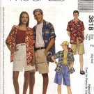 "McCalls Sewing Pattern 3618 Misses Mens Unisex Chest Size 34-44"" Button Front Shirts Shorts Hats"