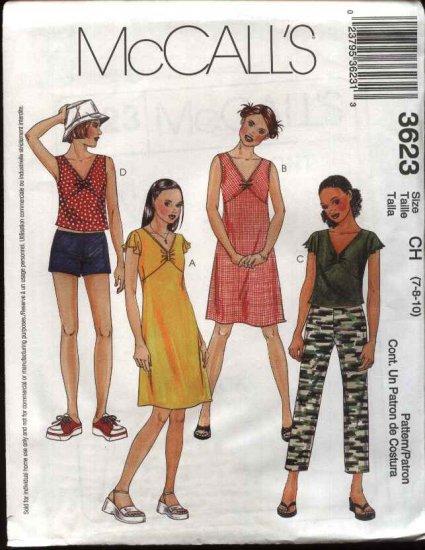 McCall's Sewing Pattern 3623 Girls Size 7-8-10 Wardrobe Dress Top Pants Shorts