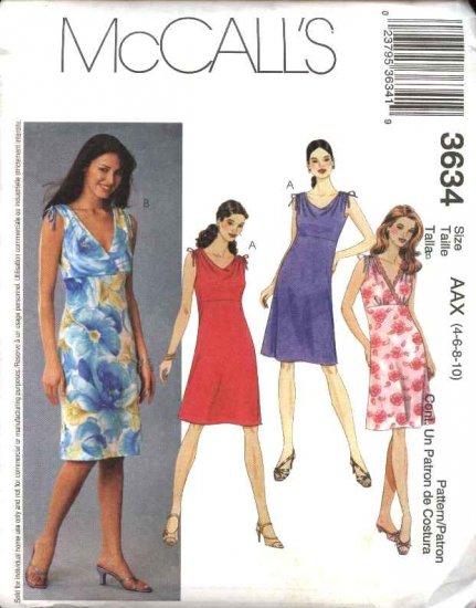 McCall's Sewing Pattern 3634 Misses Size 4-10 Bias Raised Waist Empire Sleeveless Summer Dresses
