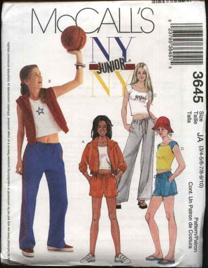McCall's Sewing Pattern 3645 Junior Size 11/12-17/18 NYNY Wardrobe Sweatpants Shorts Jacket Vest Top