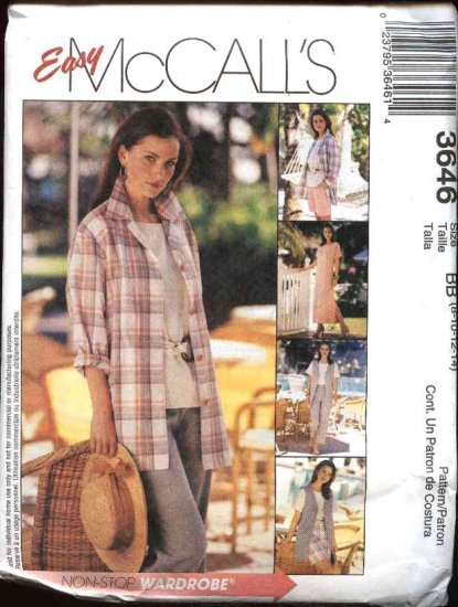 McCall's Sewing Pattern 3646 Misses Size 8-14 Easy Wardrobe Dress Top Vest Pants Shirt Jacket Shorts