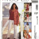 McCall's Sewing Pattern 3651 Misses Size 16-22 Easy Wardrobe Jacket Vest Pants Shorts Knit Top Shell
