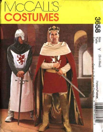 """McCall's Sewing Pattern 3658 Mens Chest Size 34-40"""" Camelot Costumes Cape Leg Armor Tunic Helmet"""