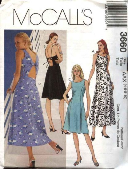 McCall's Sewing Pattern 3660 Misses Size 4-10 Sundress Princess Seam Open Back Summer Dress