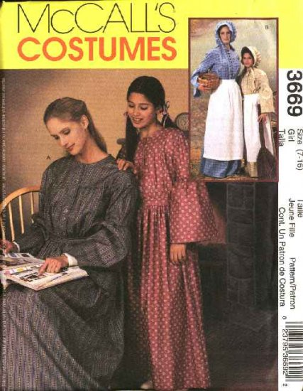 McCall's Sewing Pattern 3669 Girls Size 7-16  Prairie Costumes Long Dress Apron Sun Bonnet