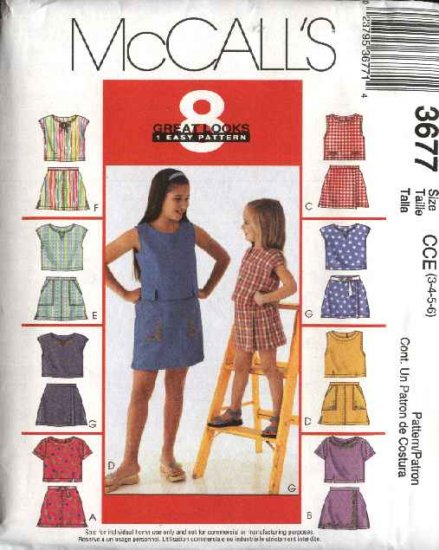McCall's Sewing Pattern 3677 Girls Size 3-4-5-6 Easy Summer Pullover Tops Skorts