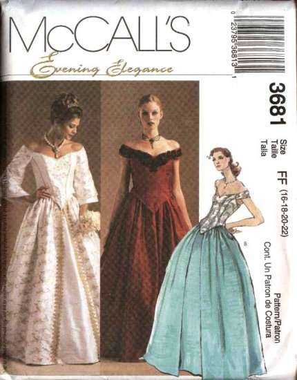 McCall's Sewing Pattern 3681 Misses Size 12-18 Evening Formal Wedding 2-Piece Dress Gown