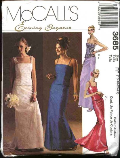 McCall's Sewing Pattern 3685 Misses Size 16-22 Evening Formal Wedding 2-Piece Dress Gown Prom
