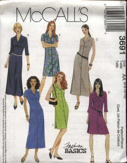 McCall's Sewing Pattern 3691 Misses Size 6-12 Classic Button Front A-Line Long Short Shirt-Dress