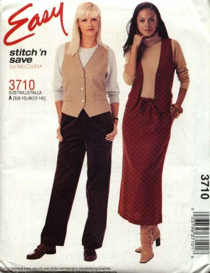 McCall�s Sewing Pattern 3710 Misses Size 8-14 Easy Button Front Vest Pull On Skirt Pants