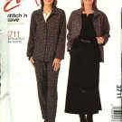 McCall's Sewing Pattern 3711 Misses Size 16-22 Easy Wardrobe Shirt Top Pants Skirt