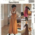 McCall's Sewing Pattern 3716 Misses Size 14-20 SewNews Button Front Tucked Bodice Jumper
