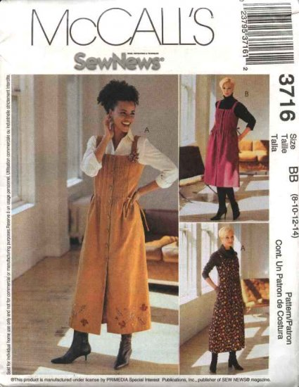 McCall's Sewing Pattern 3716 Misses Size 8-14 SewNews Button Front Tucked Bodice Jumper