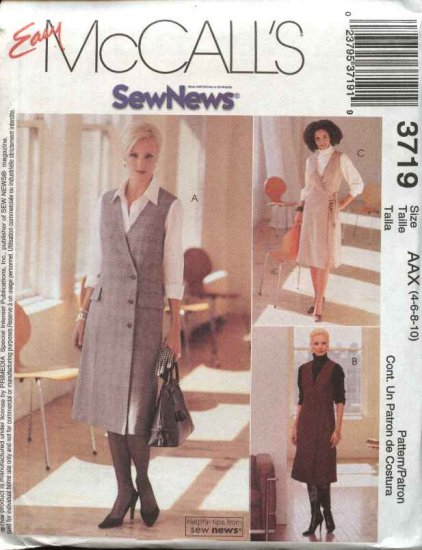 McCall's Sewing Pattern 3719 Misses Size 4-10 Easy SewNews Wrap Front Jumpers Shirt