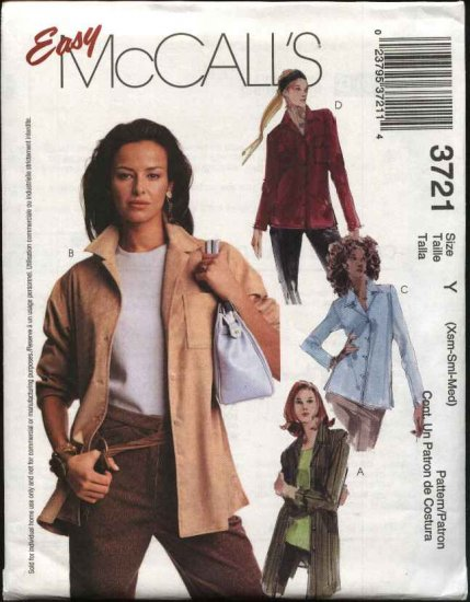 McCall's Sewing Pattern 3721 Misses Size 4-14 Easy Button Front Long Sleeve Shirt