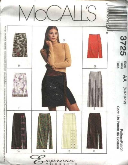 McCall's Sewing Pattern 3725 Misses Size 6-12 Straight Fitted Long Short Skirts Trim Variations