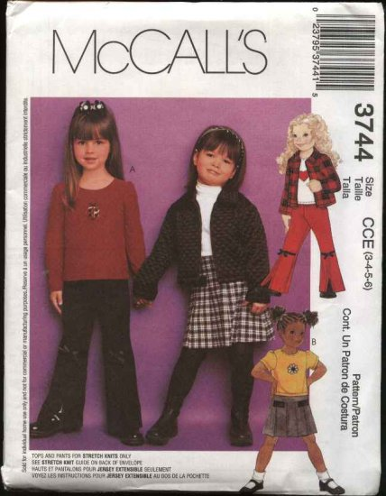 McCall's Sewing Pattern 3744 Girls Size 3-6 Wardrobe Zipper Front Jacket Knit Tops Pants Skirt