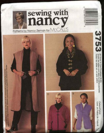 McCall's Sewing Pattern 3753 Misses Sizes 8-22 Unlined Fleece Jacket Vest Machine Embroidery