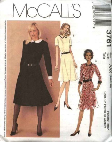 McCall's Sewing Pattern 3761 Misses Size 4-10 Flared Skirt Dress Collar Sleeve Variations