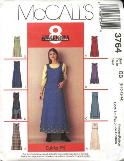 McCall's Sewing Pattern 3764 Misses Size 8-14 Easy Raised Waist Empire Dress Jumper