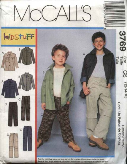 McCall's Sewing Pattern 3769 Boys Size 12-16 Button Front Long Sleeve Shirt Fitted Long Pants