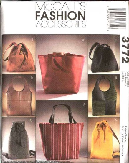 McCall's Sewing Pattern 3772 Fashion Accessories Lined Bag Totes Purses Handbags BackPacks