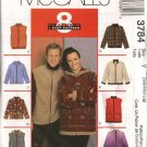 "McCall's Sewing Pattern 3784 470 Mens Misses Unisex Chest Size 46-52""  Zipper Front  Hooded Jacket"