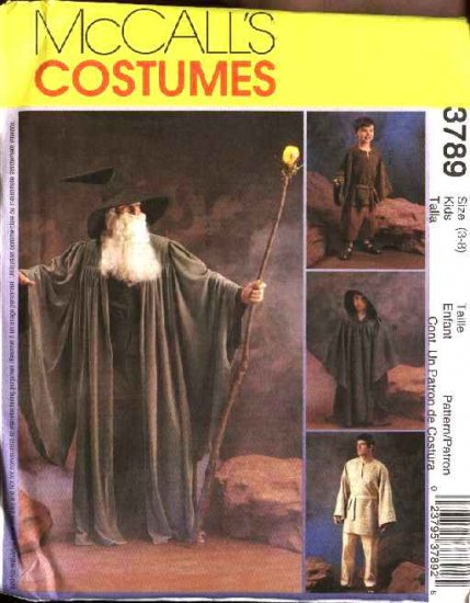 McCall's Sewing Pattern 3789 Boys Girls Size 3-8 Costumes Fantasy Witches Wizards Robe Tunic