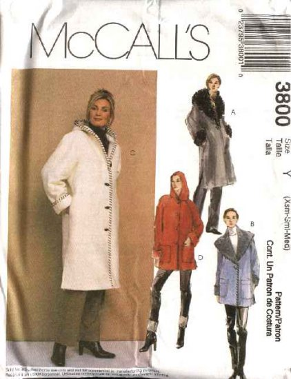 McCall's Sewing Pattern 3800 M3800 Misses Size 16-22 Lined Button Front Wide Collar Hooded Coats