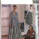 McCall's Sewing Pattern 3801 Misses Size 8-14 Wrap Front Top Long Full Skirt Fitted Long Pants