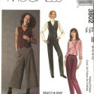 McCall's Sewing Pattern 3802 Misses Size 8-14 Lined Button Front Vest Fitted Long Pants Culottes