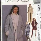 McCall's Sewing Pattern 3807 Misses Size 4-14 Winter Button Front Lined Jacket Coat