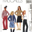 McCall's Sewing Pattern 3809 Girls Plus Size 10½-16½ Knit Cardigan A-Line Skirt Long Fitted Pants