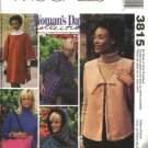 McCall's Sewing Pattern 3815 Misses Size 8-22 Fleece Poncho Vest Hood Tote Bag Woman's Day