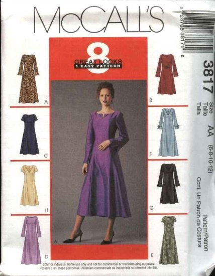 McCall's Sewing Pattern 3817 Misses Size 6-12 Classic Princess Seam Dress Neck Sleeve Variations
