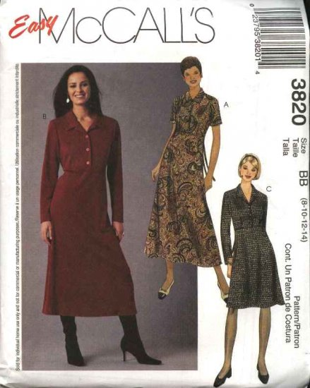 McCall's Sewing Pattern 3820 Misses Size 8-14 Pullover Raised Waist Front Button Closure Dress