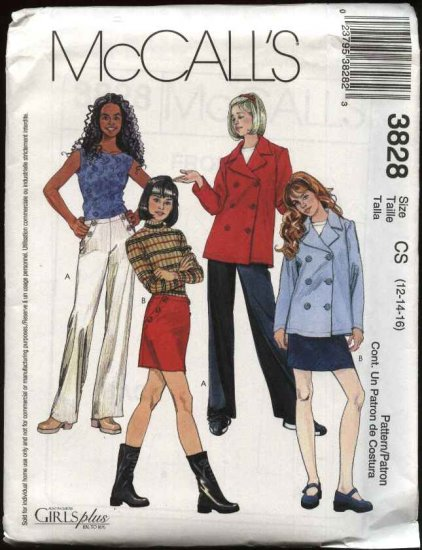 McCall's Sewing Pattern 3828 Girls Size 12-16 Double Breasted Unlined Jacket Fitted Pants Skirt