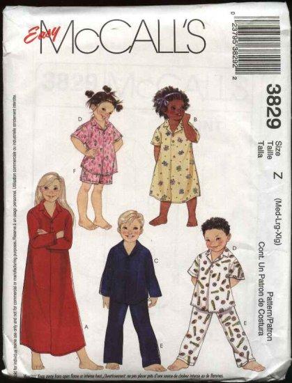 McCall's Sewing Pattern 3829 Boys Girls Size 7-16 Nightshirt Tops Pants Shorts Pajamas Nightgown