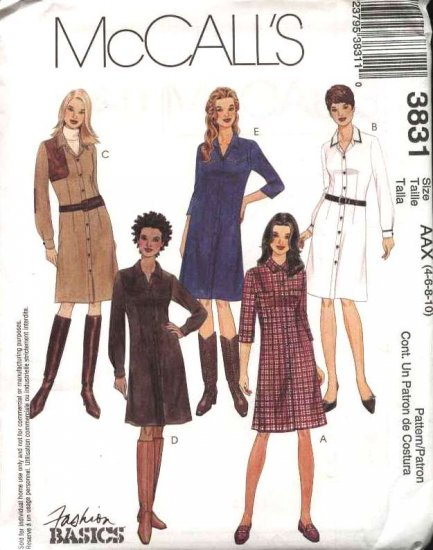 McCall's Sewing Pattern 3831 Misses Size 4-10 Basic Classic Button Front Shirt Dress
