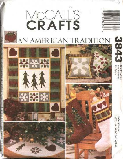 McCall�s Sewing Pattern 3843 Quilting Christmas Quilt Stocking Pillow Treeskirt Wallhanging
