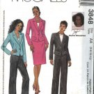 McCall's Sewing Pattern 3848 Misses Size 6-12 Lined Jacket Fitted Long Pants Straight Skirt