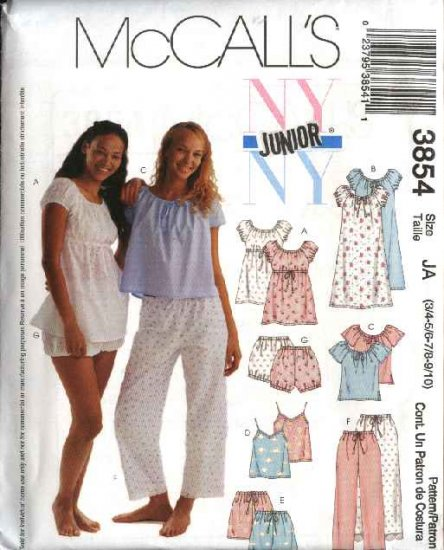McCall's Sewing Pattern 3854 Junior Size 3/4-9/10 Baby Doll Nightgown Pajamas Camisole Pants Tops
