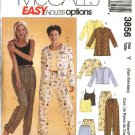 McCall's Sewing Pattern 3856 Misses Size 4-14 Easy Pajamas Button Front Top Camisole Shorts Pants