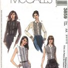 McCall's Sewing Pattern 3859 Misses Size 6-12 Button Front Pullover Lace Blouse Long Sleeves